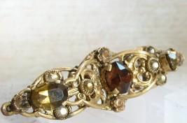 Vintage Brass Ladies Pin Brooch Brown Rhinestone Lady's Jewellery Europe 1960s - $16.00