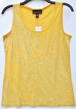 Dana Buchman Yellow Sequin Leaf Floral Embellished Knit Top - $19.99