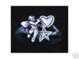 LOOK Sterling Silver .925 Cupid Angel Valentine's Day Love Heart Star Ring Jewel - $16.16