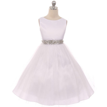 White Satin Bodice Tulle Skirt Rhinestones Silver Satin Sash Flower Girl... - $52.00