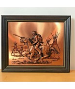 Vintage Indian Warrior w/ Spear Shield on Horse 3D Copper Wall Art Tepee... - $34.95