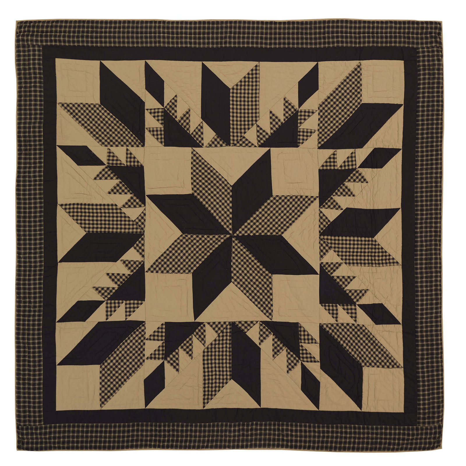Dakota Star Luxury California King Quilt - Feathered Star Patchwork - Vhc Brands