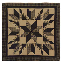 Dakota Star King Quilt - Feathered Star Patchwork - Black & Tan - Vhc Brands