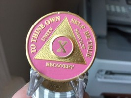 10 Year AA Medallion Pink Gold Plated Sobriety Chip - $12.99