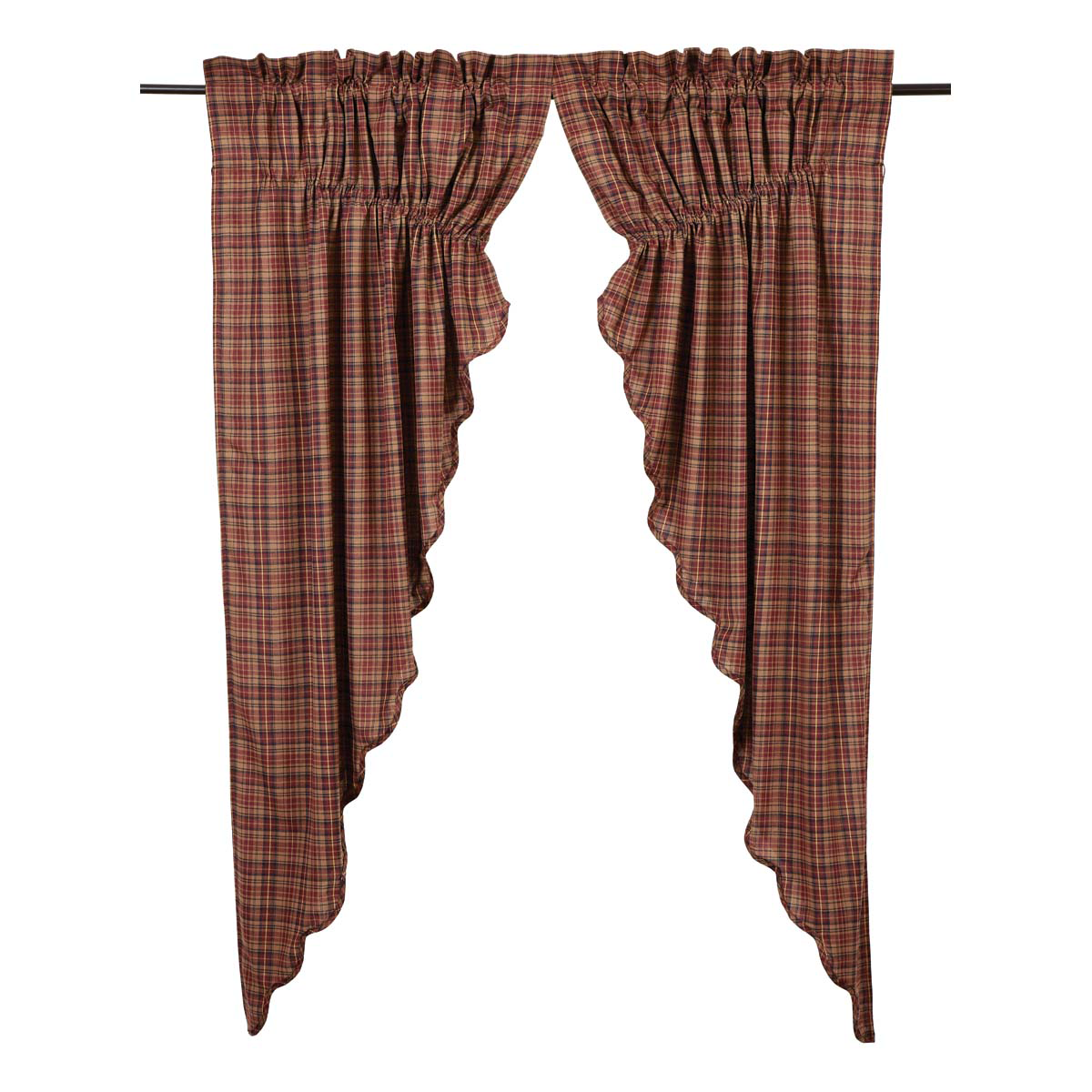 "Parker Prairie Curtains - Scalloped Lined 63x36x18"" - Vhc Brands"