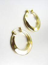 "GORGEOUS Polished 18kt Gold Plated Small 1"" Diameter Round Hoop Earrings - $11.99"