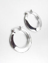 "GORGEOUS Polished 18kt White Gold Plated Small 1"" Diameter Round Hoop Earrings - $11.99"