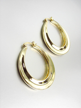Gorgeous Polished 18kt Gold Plated Oval Hoop Earrings - $16.99