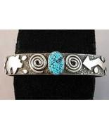 Turquoise Bracelet Native Symbols Sterling Silv... - $750.00