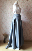 GRAY Taffeta Skirt Women High Waist Taffeta Skirt Maxi Party Prom Skirt Custom image 3
