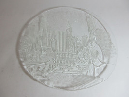 """Vintage Chicago Skyline 13"""" Clear Glass Embossed Plate Wrigley Field Sea... - $32.62"""