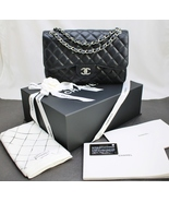 CHANEL JUMBO Quilted BLACK CAVIAR Leather Class... - $4,898.00