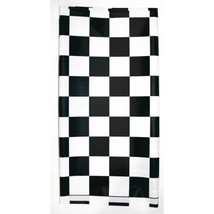 "Stay Put Plastic Tablecover Black White Check 29"" x 72"" Banquet Wind Pro... - $6.49"