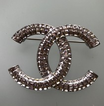 CHANEL 2017 CC Logo Crystal Medium Brooch Pin - STUNNING - $1,453.32