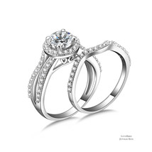 1 ct Round Halo Infinity 925 Sterling Silver Cubic Zirconia Engagement Ring Set - $53.20