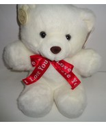 "Teddy Bear I LOVE YOU NWT White Red Heart Ganz  12"" - $10.99"