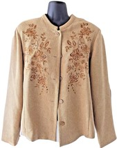 Womens Coldwater Creek Tan Floral Embroidered Buttoned Blazer Jacket Top 12 XL - $65.99