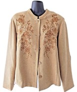 Womens Coldwater Creek Tan Floral Embroidered Buttoned Blazer Jacket Top... - $65.99