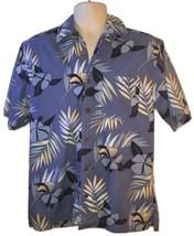 Mens Blue Caribbean Joe Floral Hibiscus Hawaiian Cotton Button Down Shir... - $47.99
