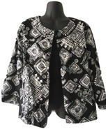 Womens Coldwater Creek Black White Square Floral Jacket Blazer Cruise We... - $44.99