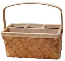 Vintiquewise(TM) Natural Woodchip Picnic Flatware Serving Caddy Basket - $14.99