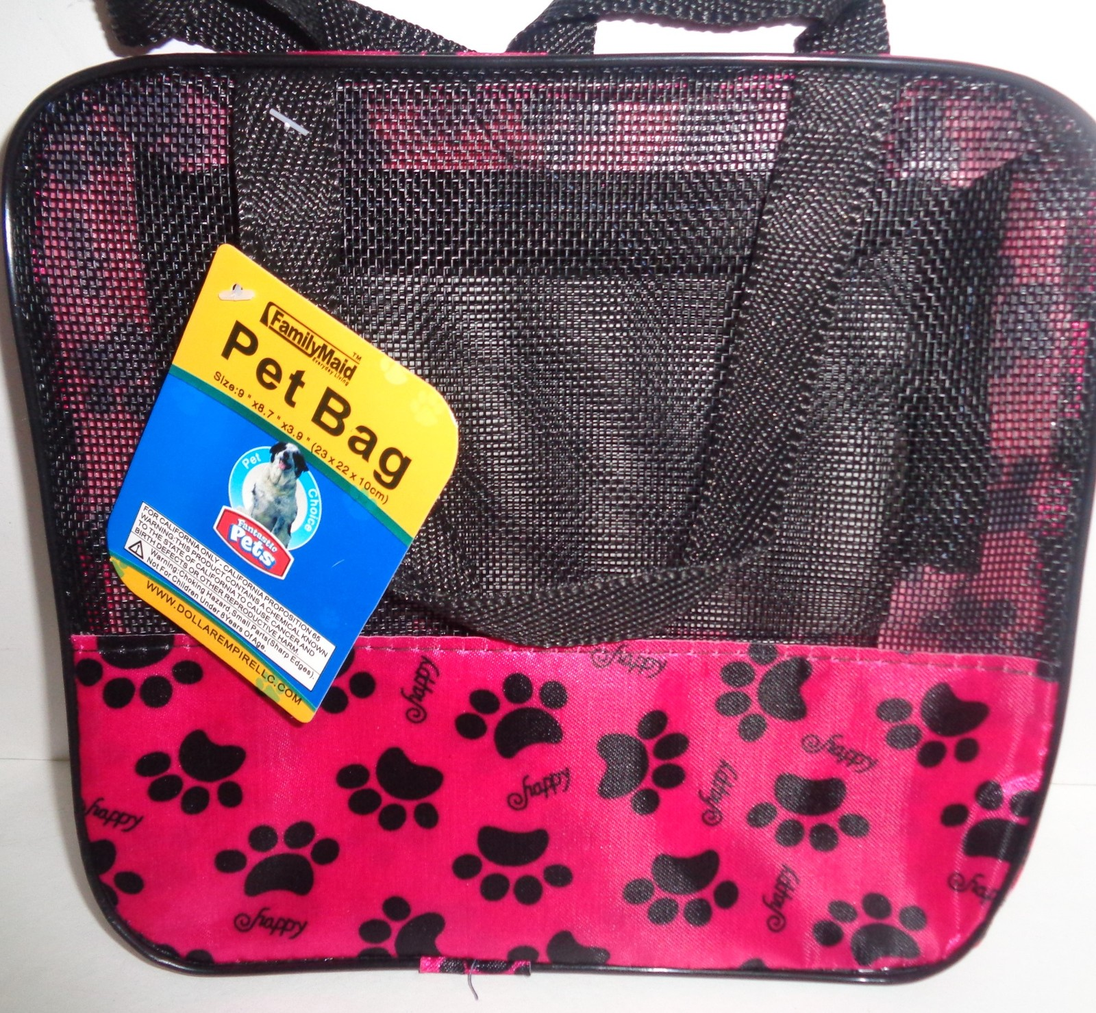 """Pet Carrier Tote Black Mesh Pink Paws NWT Small 9"""" x 8.7"""" x 3.9"""""""
