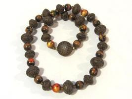 Vintage jewelry Wooden & Snake's skin Beads necklace 25'' Long - $25.00