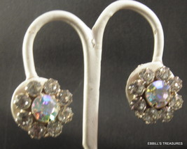 signed weiss aurora borealis crystal clear rhinestone button earrings 3974 - $18.00