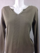Eddie Bauer Women's Top Olive Green Long Sleeve Button Neck Size Med Bin... - $9.50