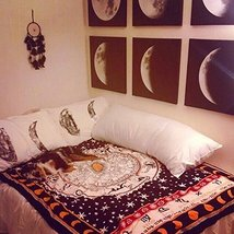 Zodiac Black & White Tapestry, Astrology Indian Tapestry - $23.70