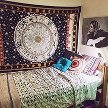 BEAUTIFUL Zodiac Black & White Tapestry, Astrology Indian Tapestry - $23.70