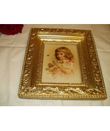 Maud Humphrey Victorian Girl Holding Clover Flwr Flying Bee Original 189... - $135.00