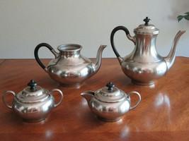 Vintage Metawa Holland 94% Pewter Tea Coffee Pot Creamer Sugar Bowl Blac... - $69.99