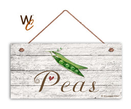 "Peas Sign, Rustic Style Garden Sign,  5"" x 10"" Wood Vegetable Sign, Kitchen - $11.39"