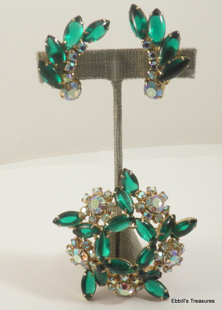smooth top tourmaline green crystal marquis aurora borealis demi parure 2833