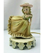 Vtg Aladdin Giftware Night Light Portable Lamp Porcelain Girl in Dress - $20.00