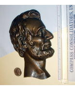 Abraham Lincoln Bronze Metal Head Portrait Plaque Wall Hanging Home Decor - $85.00