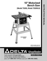 Delta ShopMaster Table Saw Model TS200-TS200L Instruction Manual - $10.88