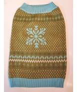 Martha Stewart Pets Dog Sweater siz Large Blue Green Snowflake Fair Isle... - $8.91