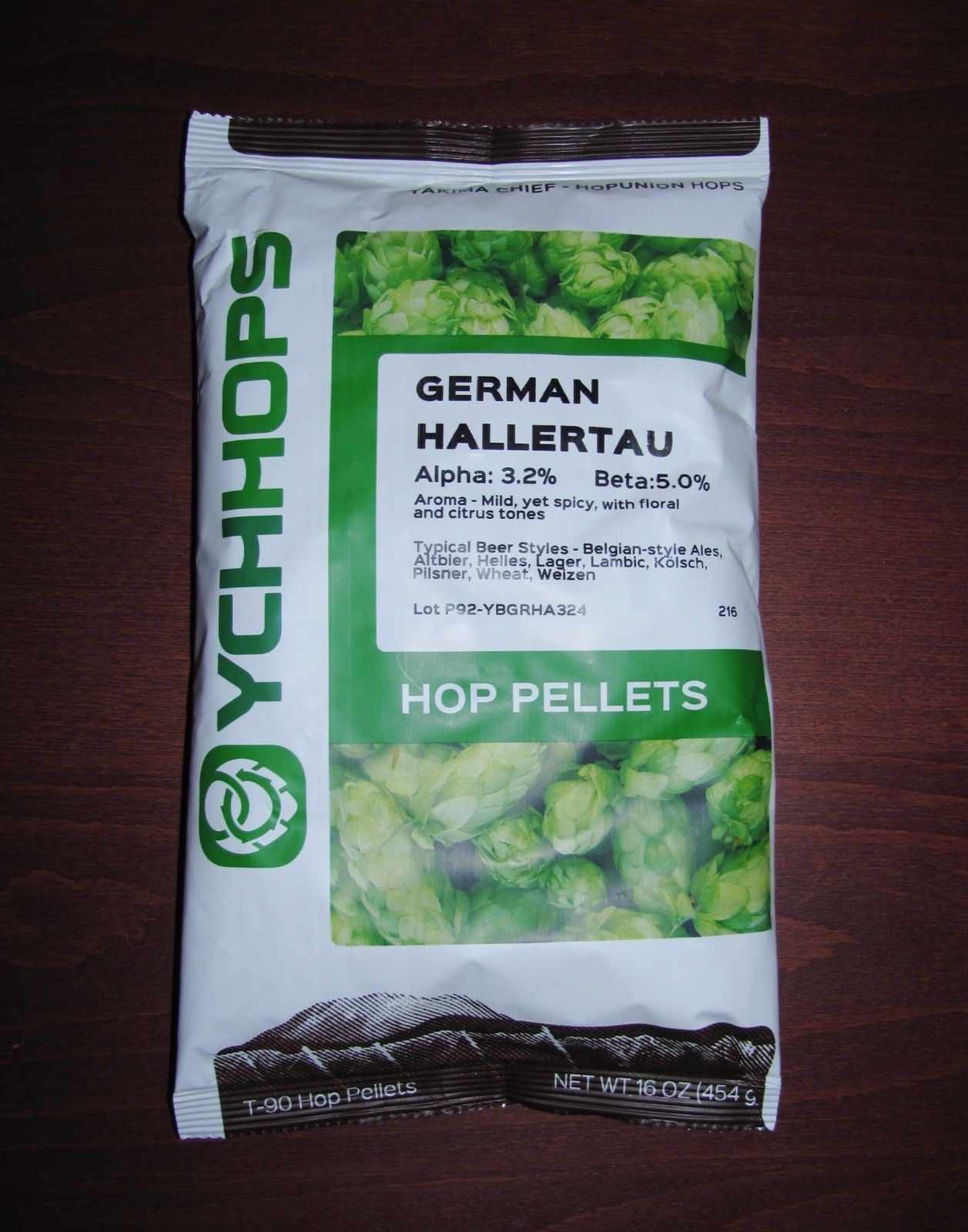 HOPS 1LB GERMAN HALLERTAU YCHHOPS HOP PELLETS FOR BEER PACKED IN NITRO FOIL BAG