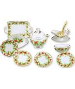 DOLLHOUSE Christmas Holly Dinner for Four 1.380/3 Reutter Porcelain Mini... - $40.85