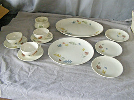 13 Pcs Franciscan Autumn Leaves Dinnerware Plates Cups Platter Sugar Bowl & Lid - $79.20