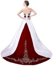 Cheap Burgundy and White Wedding Dresses,Wedding Gown,Bridal Dress, Bridal Gown - $184.00