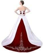Cheap Burgundy and White Wedding Dresses,Wedding Gown,Bridal Dress, Brid... - $184.00