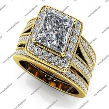 Women's Trio Wedding Ring Set Princess Cut White CZ 14k Yellow Gold 925 ... - $147.99