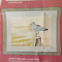 "Vintage Bucilla Crewel Kit ""Deserted Reef"" #2553 Seagull Beach No Yarn 15"" x 19"" - $9.89"