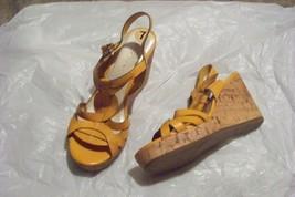 womens etienne aigner villa yellow strappy wedg... - $23.75