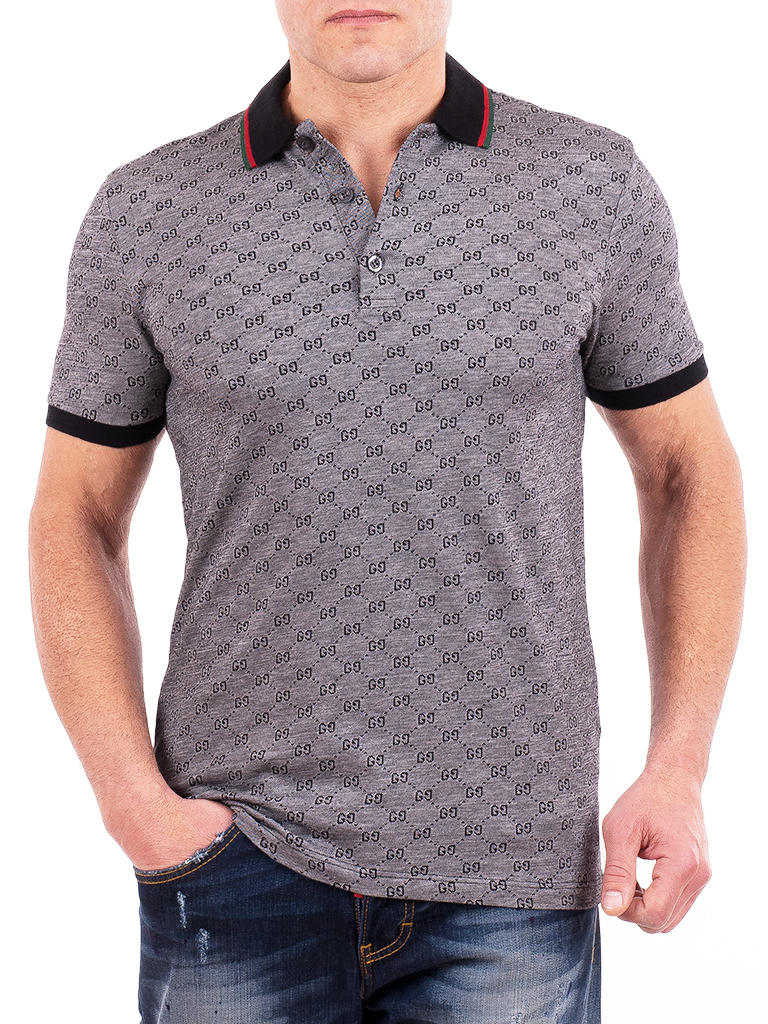 Gucci mens polo shirt gray gg monogram short sleeve polo for Initials on dress shirts