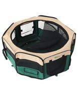 Indoor Pet Play Yard Foldable Small Green Fabric Dog Cat Rabbit Play Pen... - $49.15