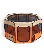 Indoor Pet Play Yard Foldable Small Orange Fabric Dog Cat Rabbit Play Pe... - $49.15